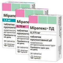 Мирапекс ПД: инструкция по применению таблеток
