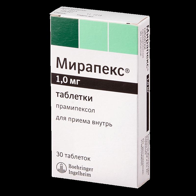 Мирапекс: инструкция по применению таблеток