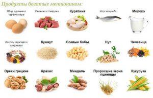 в каких продуктах содержится метионин таблица